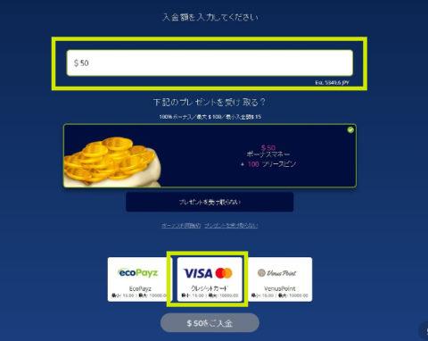 クレジットカードの入金金額とボタン
