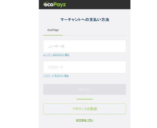 オンラインカジノの入金からecopayzにログインする画面